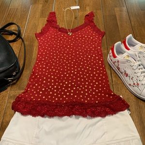 NWOT Red w Lace Tank Top Featuring Gold Stars Sz L